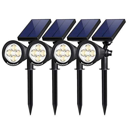 Solar StraßenlaterneSolarleuchten Garten im Freien, 2 in 1 Strahler Powered 4 LED verstellbare Wandleuchte Landschaftsbeleuchtung, Hell- und Dunkelerkennung, Auto On/Off für Hof, Auffahrt, 4er Pac