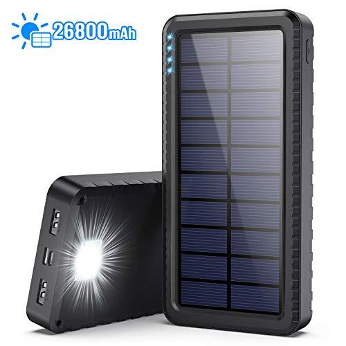 Dyw Solar Powerbank 26800mAh mit USB C Eingang, Solar ladegerät mit Outdoor SOS Led, akkupack Handy Power Bank mit 2 USB Ausgängen für Universal Telefone und kleine Geräte