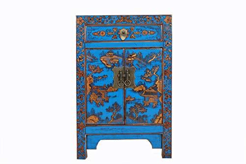 Yajutang - Mesita de Noche (Pintada a Mano), diseño de símbolo de la Suerte del Paisaje, Color Azul