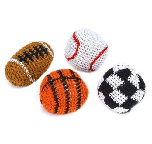 4 SPORT KICK BALLS WOVEN HACKY SACK FOOT BALLS BAGS HACKEY PARTY FOOTBALL SOCCER by heaven_shop