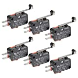 BUYGOO 6Pcs V-156-1C25 Micro Limit Switch with Hinge Roller Momentary SPDT Snap Action for Arduino CYT1046