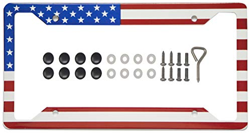 International Tie License Plate Frame, Made with High Grade 304 Stainless Steel (American Flag)