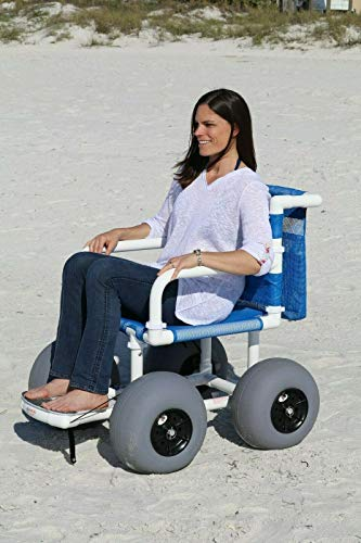 Beach Wheelchair, 12' Balloon Tires for Soft Sand, Easily Disassembles