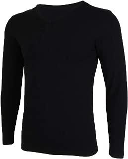Lovoski Men's Cotton Super Soft Pajama Tops Winter Thermal Baselayer Underwear Skiing Warm Tops V-neck Long Sleeves
