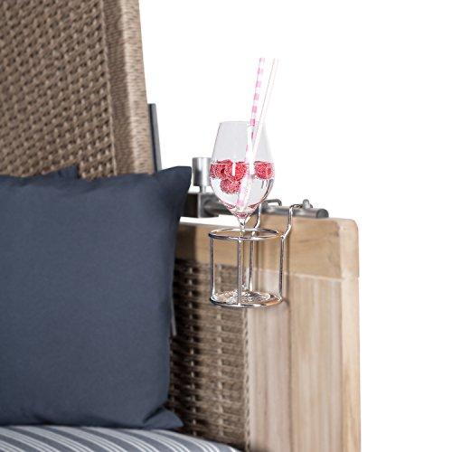 Mr. Deko Getränkehalter für Strandkörbe - Edelstahl Halter für Gläser & Becher - Flaschenhalter für Champagner, Sekt, Wein & Bier - Strandkorb Zubehör - Premium Bierhalter/Weinflaschenhalter