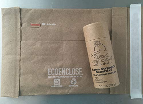Organic Island Deodorant Extra Strength Sensitive with 1/3 the Baking Soda Deodorant with Probiotics in Compostable Push Up Tube, Biodegradable, Plastic Free, Eco-friendly, Zero Waste (3 oz stick)