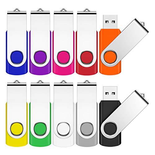 2GB USB Stick 10 Stück Speicherstick USB 2.0 Flash Laufwerk Pen Drive Thumb Drive Data Datenspeicher Mehrfarbig mit 10 Bändche (10 Farbe)