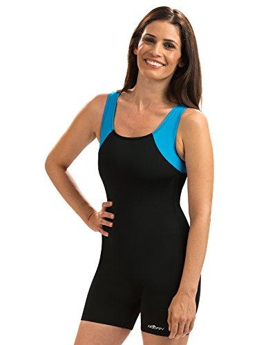 Dolfin Women's Color Block Swimsuit Boy-Leg Aquatard (12, Black/Turquoise)