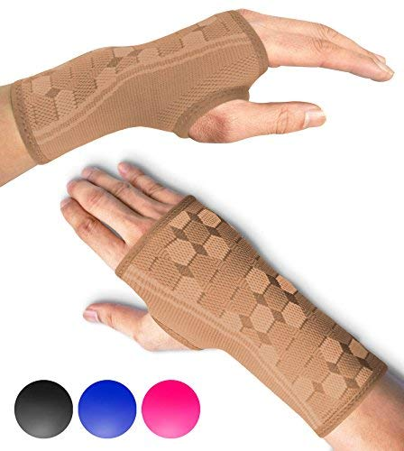 Sparthos Wrist Support Sleeves (Pair) – Compression Wrist Brace for Men and Women - Carpal Tunnel Tendonitis Arthritis Pain Relief for Sports Injuries Arthritic Wrists Palm Hand Pain RSI (Beige-M)