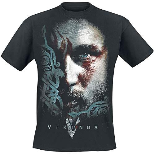 Vikings Ragnar Face Camiseta Negro XL