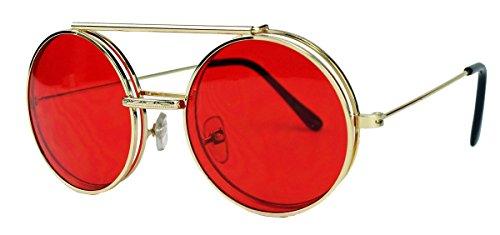Retro Sonnenbrille oversized Lennon Flip up Style Herren Damen Metallrahmen klappbare Gläser NG (Gold/Rot)