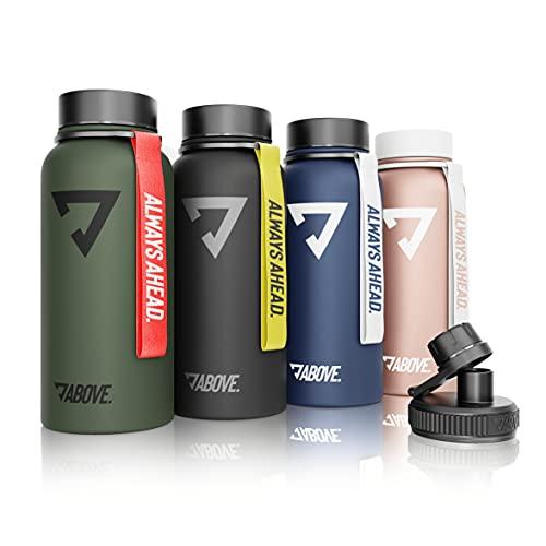 Trinkflasche Edelstahl 950ML I 2 Trinkverschlüsse I Thermosflasche Doppelwandig I BPA Frei I Kohlensäure Geeignet I Fitness, Sport, Gym (Roségold)