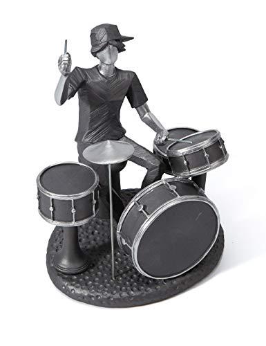 Amoy-Art Skulptur Figur Musik Musiker Schlagzeug Statue Art Dekor Rockband Klavier Geschenk für Haus Andenken Giftbox Resin 20.5cmH