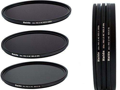 Conjunto de Filtros ND de Haida Serie Profesional Slim Pro II MC (de múltiples Capas) 67mm - ND 0.9 (8X), ND 1.8 (64x), ND 3.0 (1000x) - Hecho de Vidrio óptico Incluido un contenedor de Filtro