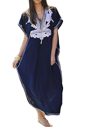 Women Long Tunic Dress Kaftan Maxi Dress Batwing 3/4 Sleeve Plus Size Summer Dress (Navy Blue 021)