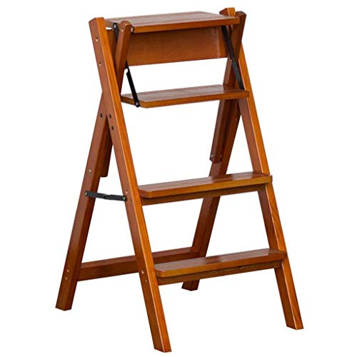 HUYP 4 Steps Ladder Solid Wood Folding Stairs Chair with Non-Slip Wide Pedal Multipurpose Flower Rack Storage Shelf