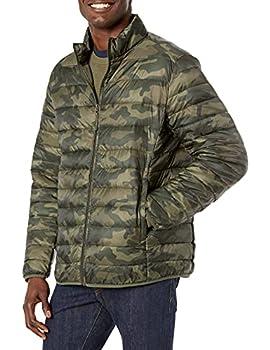 Amazon Essentials Men s Lightweight Water-Resistant Packable Puffer Jacket Green Camo Large