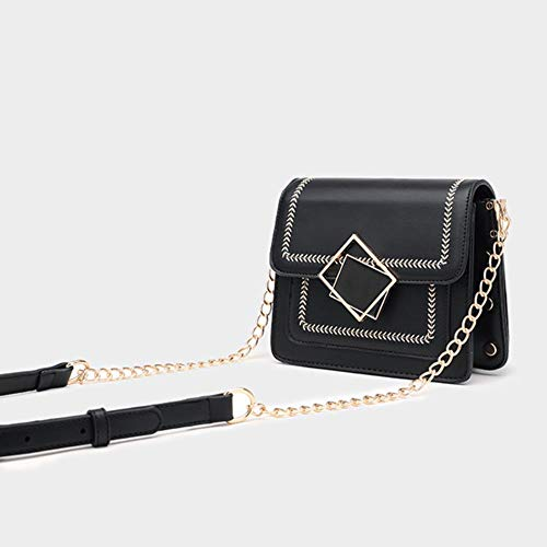 XCVB Crossbody-portemonnee met kleine kettingvoor meisjes, schoudertassen met klep voor dames, leer, zwart, 19x13.5x11CMSkleine handtassen Crossbody-portemonnee voor dames, schoudertas met klep voor dames, zwart, 19x13.5x11CM