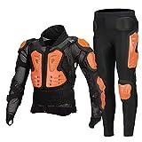 Nueva Chaqueta de Motocicleta para Hombre Armadura de Motocicleta Armadura de Cuerpo Completo Motocross Racing Moto Motorbiker Protección de Motocicleta para Verano-Orange Suit_S