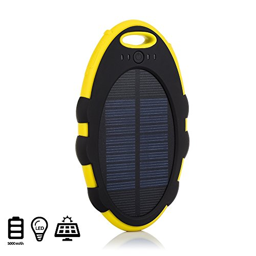 Silica DMT171YELLLOW - Power Bank Solar Waterproof 5000 mah, Color Amarillo