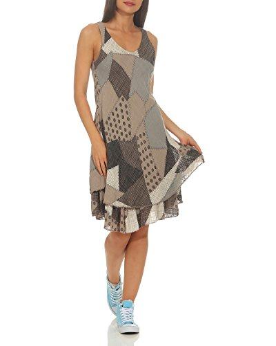 ZARMEXX Damen Sommerkleid Strand Kleid Patchwork-Print Ärmellos doppellagig A-Linie Cappuccino One Size (36-40)