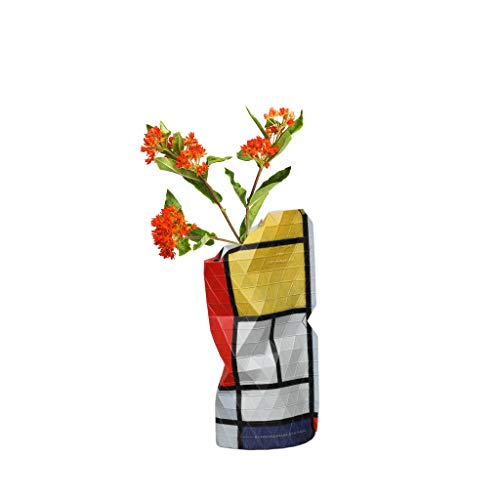 Tiny Miracles, Papier Vase, Papiervase Composition with Large red Plane, Yellow, Black, Gray, Blue, klein