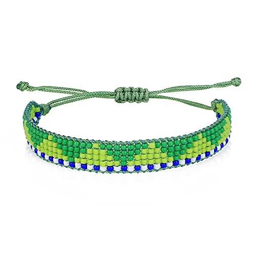 C·QUAN CHI Bracelets en Perlés D' Amitié Miyuki Bracelets Perles De Riz De Mode Bracelets Lettre Caractéristique Bracelets De Réglable Bracelets Tissé à La Main Bracelets Manchette pour Femmes