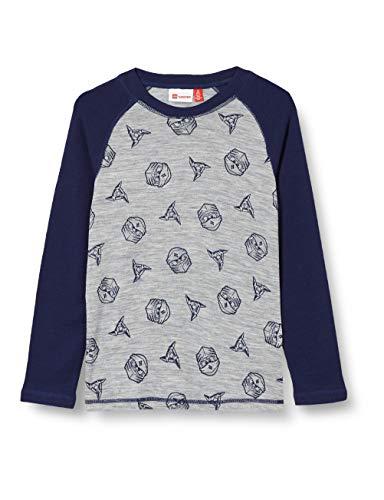 Lego Wear Jungen LWULRICK - Ninjago Shirt 100% Merinowolle Baselayer-Unterwäsche, 921 Grey Melange, 110