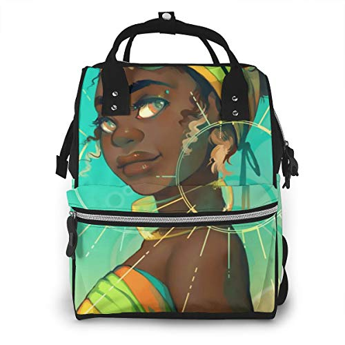 Abstract African American Black Woman Baby Diaper Bag Backpack,Multi-Function Waterproof Large Capacity Travel Nappy Bags For Mom