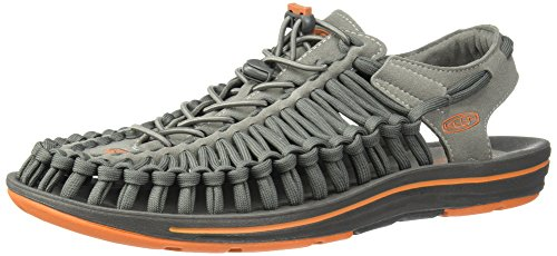 KEEN Men's Uneek Flat-M Sandal, Gargoyle/Burnt Orange, 11 M US