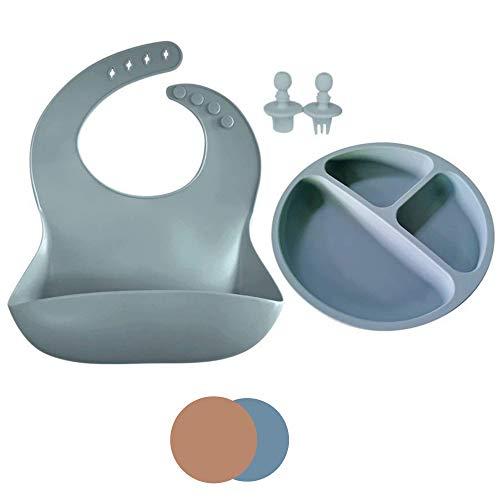 Pack de Bebe para Alimentación de Silicona Impermeable BLW/Plato Con Ventosa Antideslizante y Antivuelco para Recién Nacido/Babero Flexible Protege pechitos del bebe (azul)