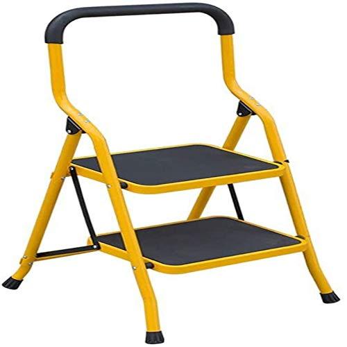 MGE Tragbare Klappleiter - Fußhocker Für Erwachsene Und Kinder/Trittleiter/Lagerregal/Blumenständer(Size:Gelb,Color: 2 Tiers)