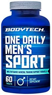 BodyTech Men's Sport One Daily Multivitamin Mineral Training Support Formula 60 Servings (60 Tablets)