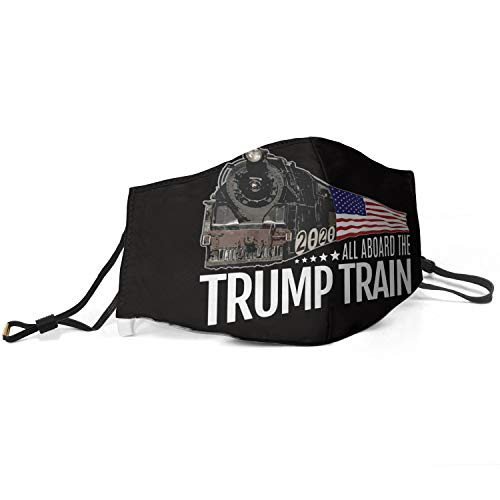 Women Men Face Masks with Adjustable Earloops Trump Train 2020 American Flag Anti Dust Face Covers