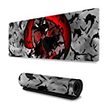 Anime Naruto Akatsuki Uchiha Itachi Sharingan Gaming Keyboard and Mouse Pad Large Extended Gamer Mouse Mat Non-Slip Rubber Full Desk Mousepad for Computer Laptop Office 11.8 x 31.5 Inch