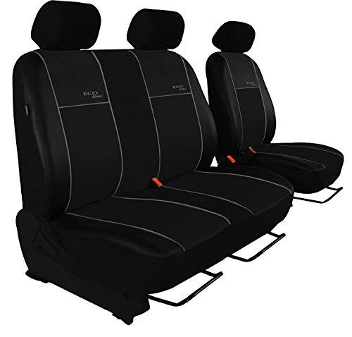 POK-TER BUS Autositzbezug Super Qualität Passend für Vito W639 (Fahrersitz + 2er Beifahrersitzbank). Design Kunst-Line. Hier mit Grauer Lamelle.