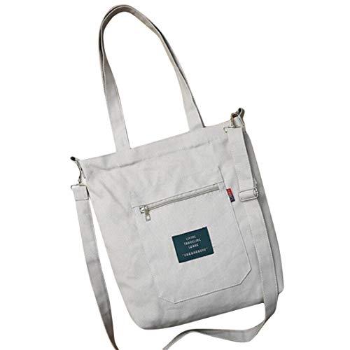 MAJFK - Bolso bandolera de lona para mujer o niña, portátil, reutilizable, color gris
