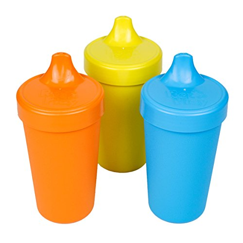 RE-PLAY Made in USA 3pk - 10 oz. No Spill Sippy Cups | Orange, Yellow, Sky Blue | Eco Friendly Heavyweight Recycled Milk Jugs | Virtually Indestructible| BPA Free | Spring