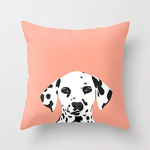 N / A Casey - Dalmation Art Print Cotton Canvas Throw Pillow Case CoverSquare Cushion Cover Pet Lovers Print Two Side