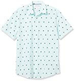 Amazon Essentials Men's Short-Sleeve Regular-Fit Casual Poplin Shirt Shirt, -Striped Palm Leaves, Large