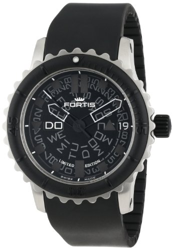 Fortis Men's 675.10.81 K B-42 Big Black Automatic Rotating Bezel Rubber Watch