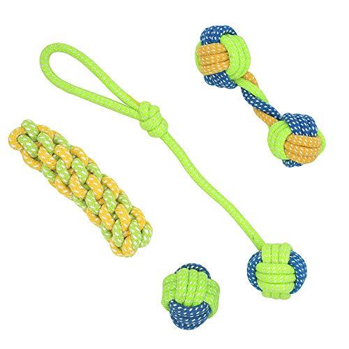 AcserGery 4 Teile Qualität Hundespielzeug zur Zahnreinigung Seil Kauspielzeug für kleine und mittlere Hunde, Welpen Zahnen Spielzeug,Interaktives Kauspielzeug