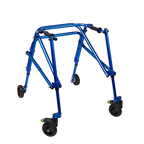 Klip Lightweight Medical Posterior Rollator Walker/Gait Trainer, 4 Wheel - for Toddlers, Kids, Teens with Special Needs, Cerebral Palsy - Durable, Height Adjustable, Foldable Design -Medium, Blue