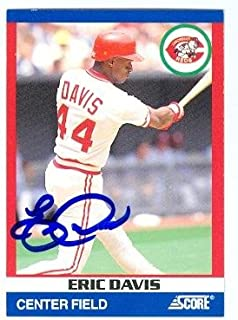 Eric Davis autographed baseball card (Cincinnati Reds) 1991 Score #9 Super Star
