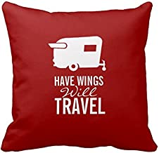 Have Wings Will Travel - Shasta Camper Trailer Square Pillow Sham Cushion Cover 18X18