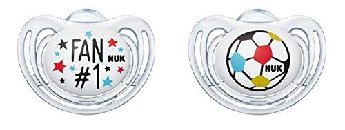 NUK Freestyle Silikon-Schnuller Fußball-Edition 10177117, Fan und Ball, kiefergerechte Form, 2 Stück