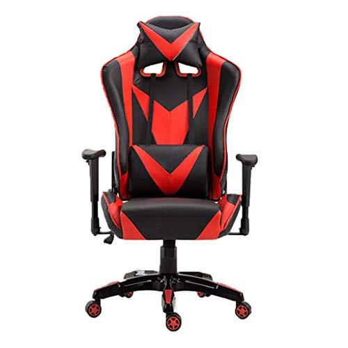 BAOKUANG Gaming Chair Reclining - Ergonomischer Renn-Bürostuhl mit hoher Rückenlehne, einziehbarer Fußstütze und verstellbarem Lendenkissen (rot)