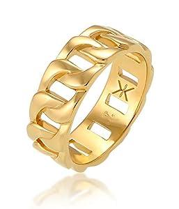 Kuzzoi Massiver Herrenring (8 mm) im Panzer Design vergoldet, Bandring für Männer aus 925 Sterling Silber, Ring im Chunky Chain Look, Ringgröße 64, 0602341820_64