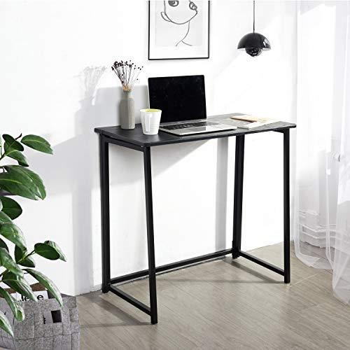 HOMEMAKE FURNITURE Escritorio de computadora plegable para el hogar de PVC con marco de metal, ahorro de espacio, escritorio para computadora portátil de estudio moderno y simple...