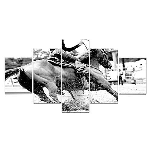 ASHUCI 5 pintura arte cuadros modernos para salon baños modernos Jinete de caballos de carreras de caballos de estilo blanco y negro 50x25 cm lienzo impresión de arte en lienzo moderno para la decorac